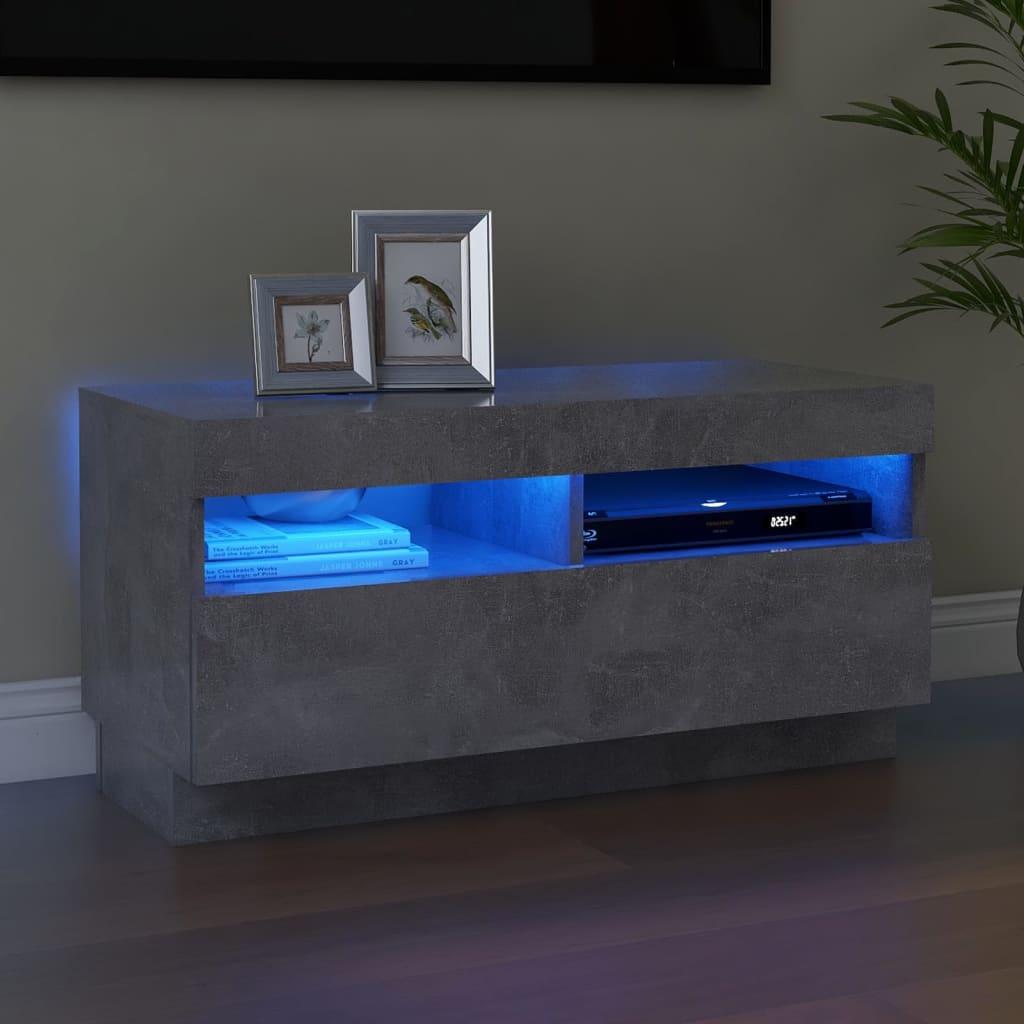 vidaXL tv-skab med LED-lys 80x35x40 cm betongrå