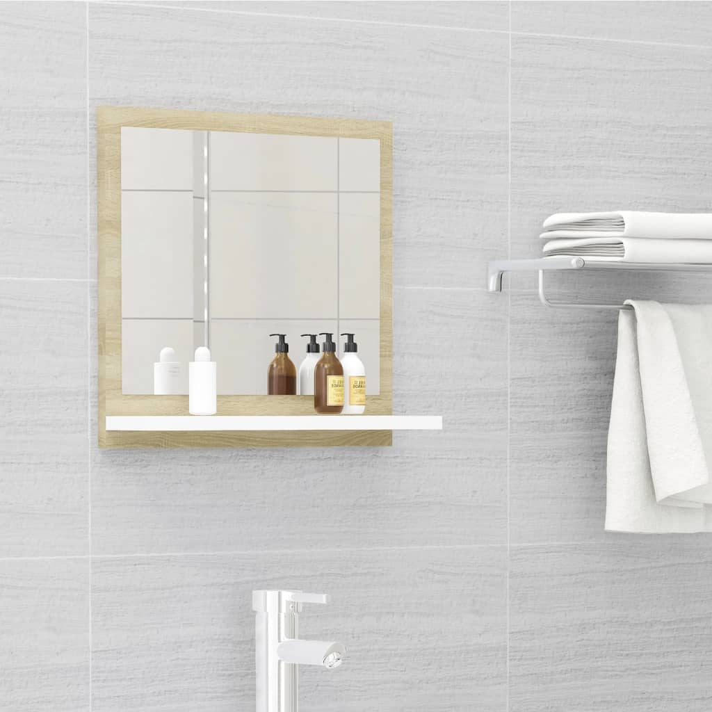 Koupelnové zrcadlo bílé dub sonoma 40x10,5x37 cm dřevotříska