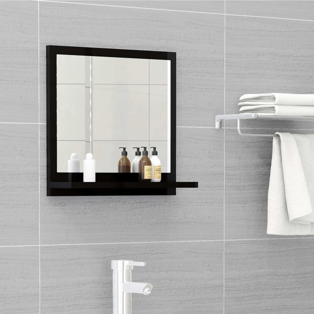 Koupelnové zrcadlo černé vysoký lesk 40x10,5x37 cm dřevotříska