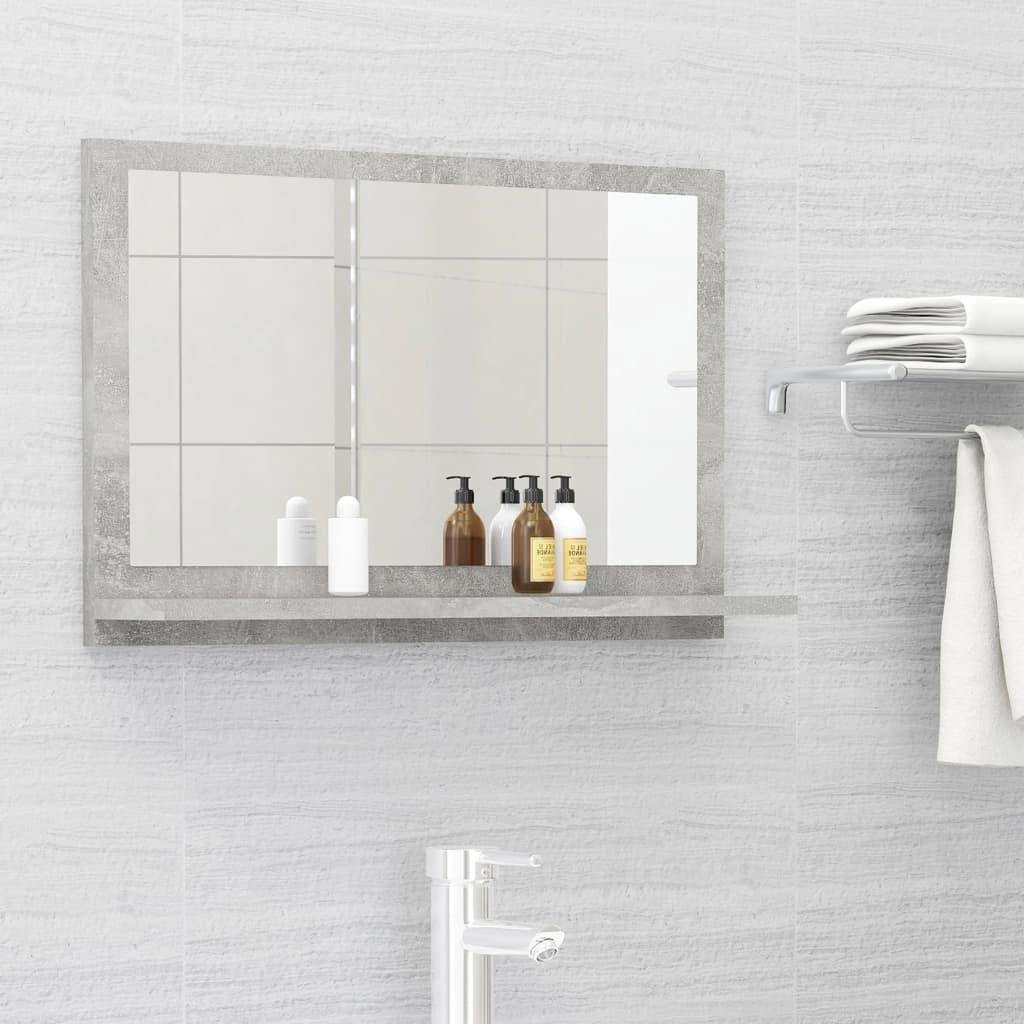 Koupelnové zrcadlo betonově šedé 60 x 10,5 x 37 cm dřevotříska