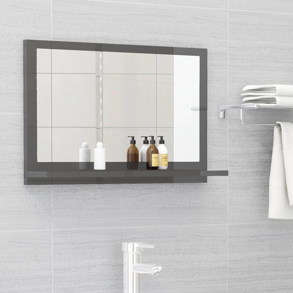 Koupelnové zrcadlo šedé vysoký lesk 60x10,5x37 cm dřevotříska