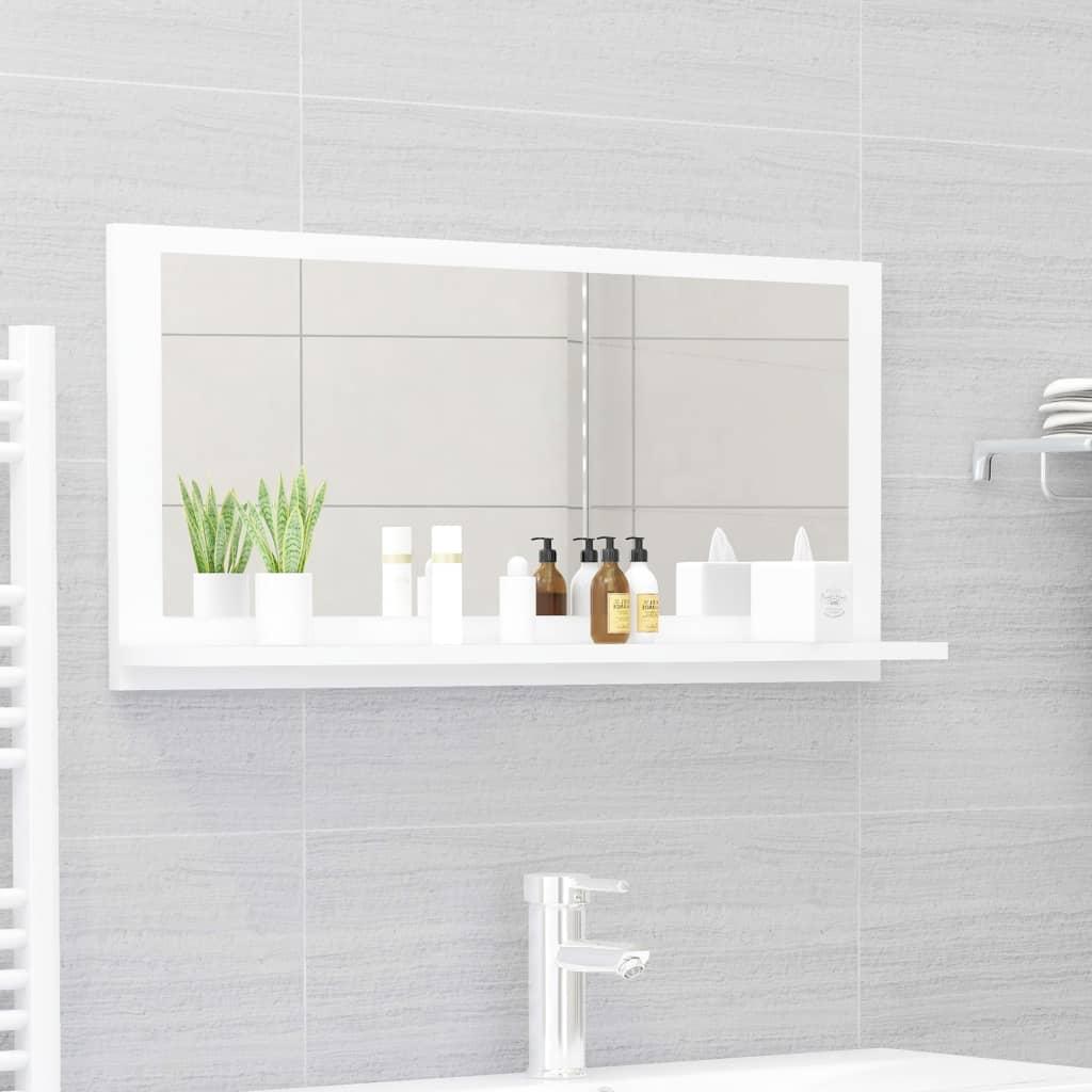 Koupelnové zrcadlo bílé 80 x 10,5 x 37 cm dřevotříska