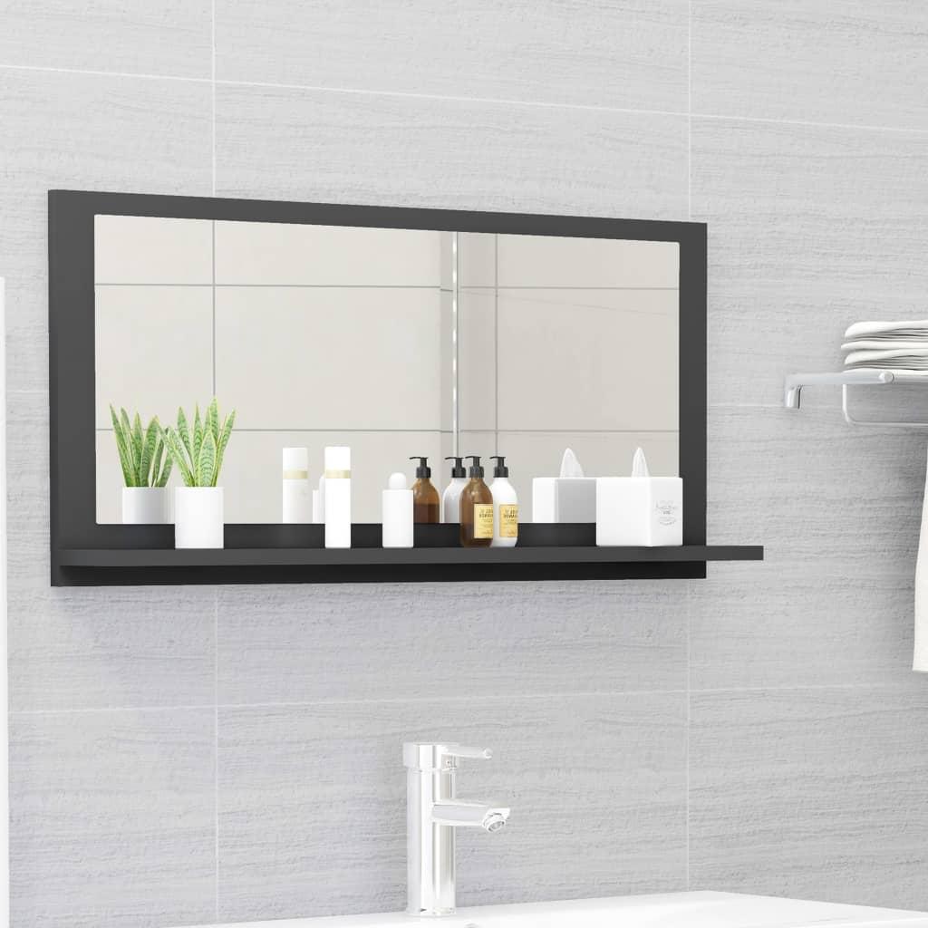 Koupelnové zrcadlo šedé 80 x 10,5 x 37 cm dřevotříska
