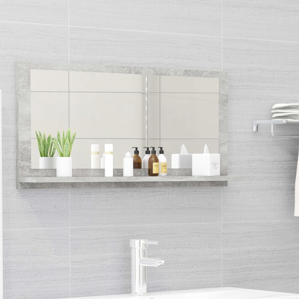 Koupelnové zrcadlo betonově šedé 80 x 10,5 x 37 cm dřevotříska