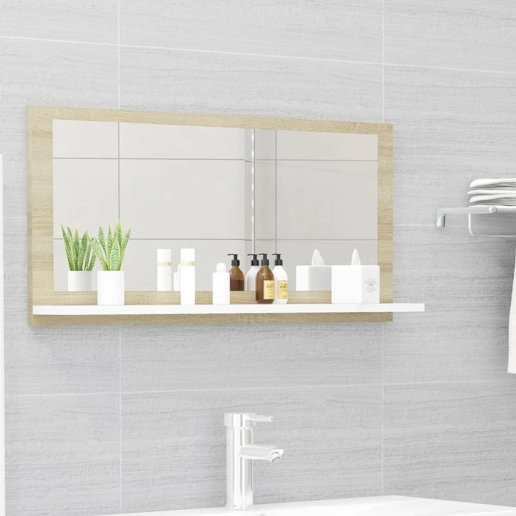 Koupelnové zrcadlo bílé dub sonoma 80x10,5x37 cm dřevotříska
