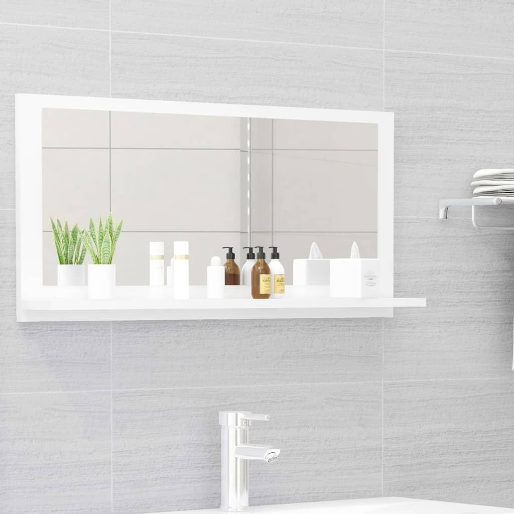 Koupelnové zrcadlo bílé vysoký lesk 80x10,5x37 cm dřevotříska