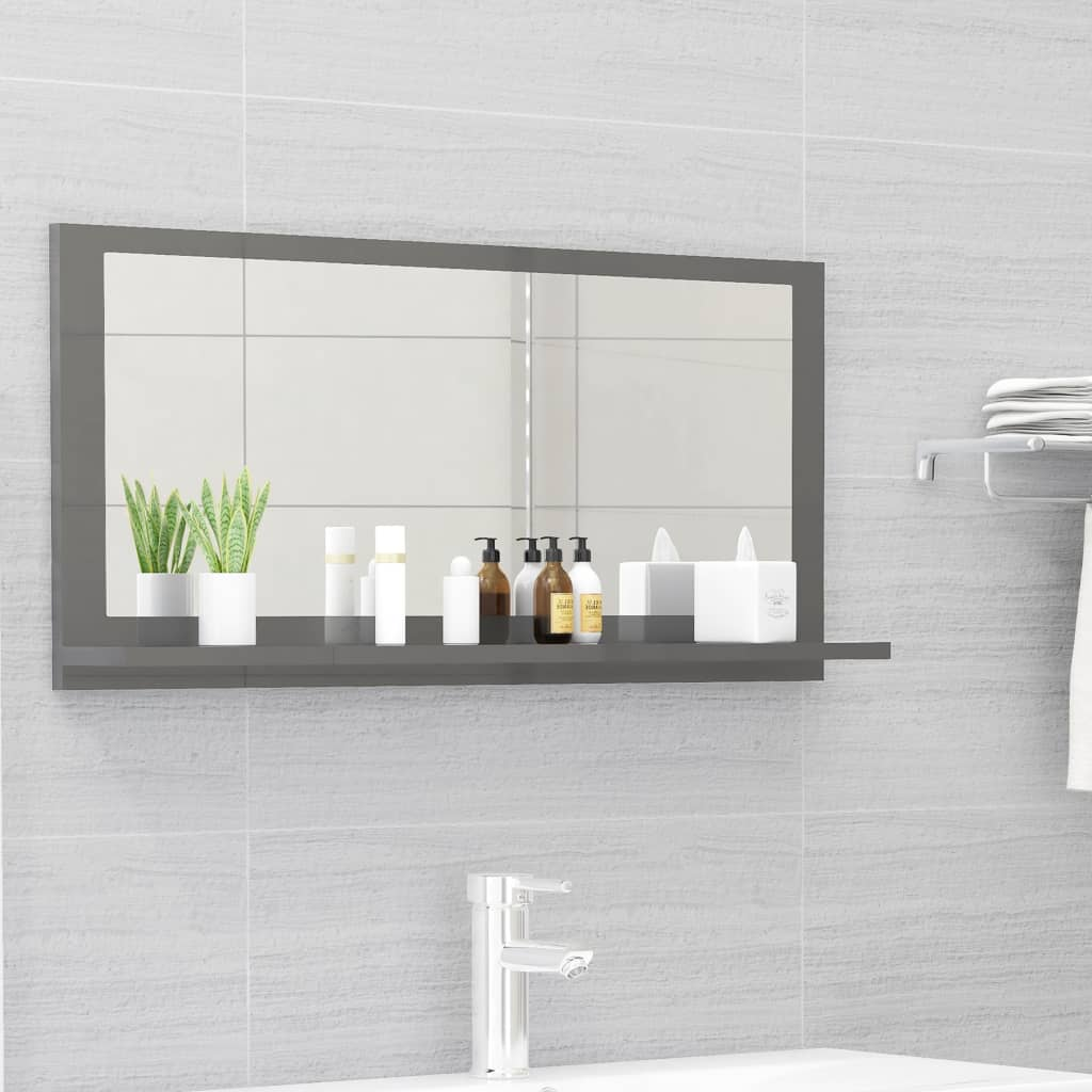Koupelnové zrcadlo šedé vysoký lesk 80x10,5x37 cm dřevotříska