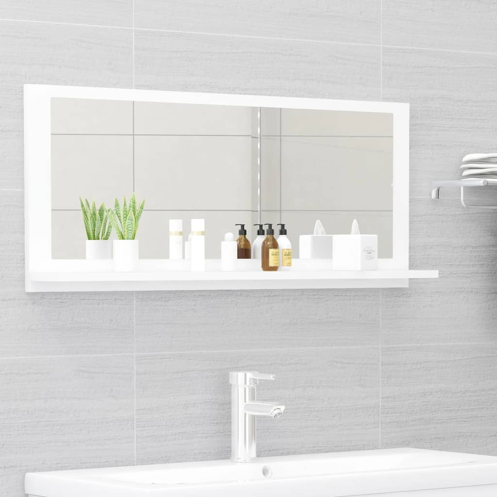 Koupelnové zrcadlo bílé 90 x 10,5 x 37 cm dřevotříska