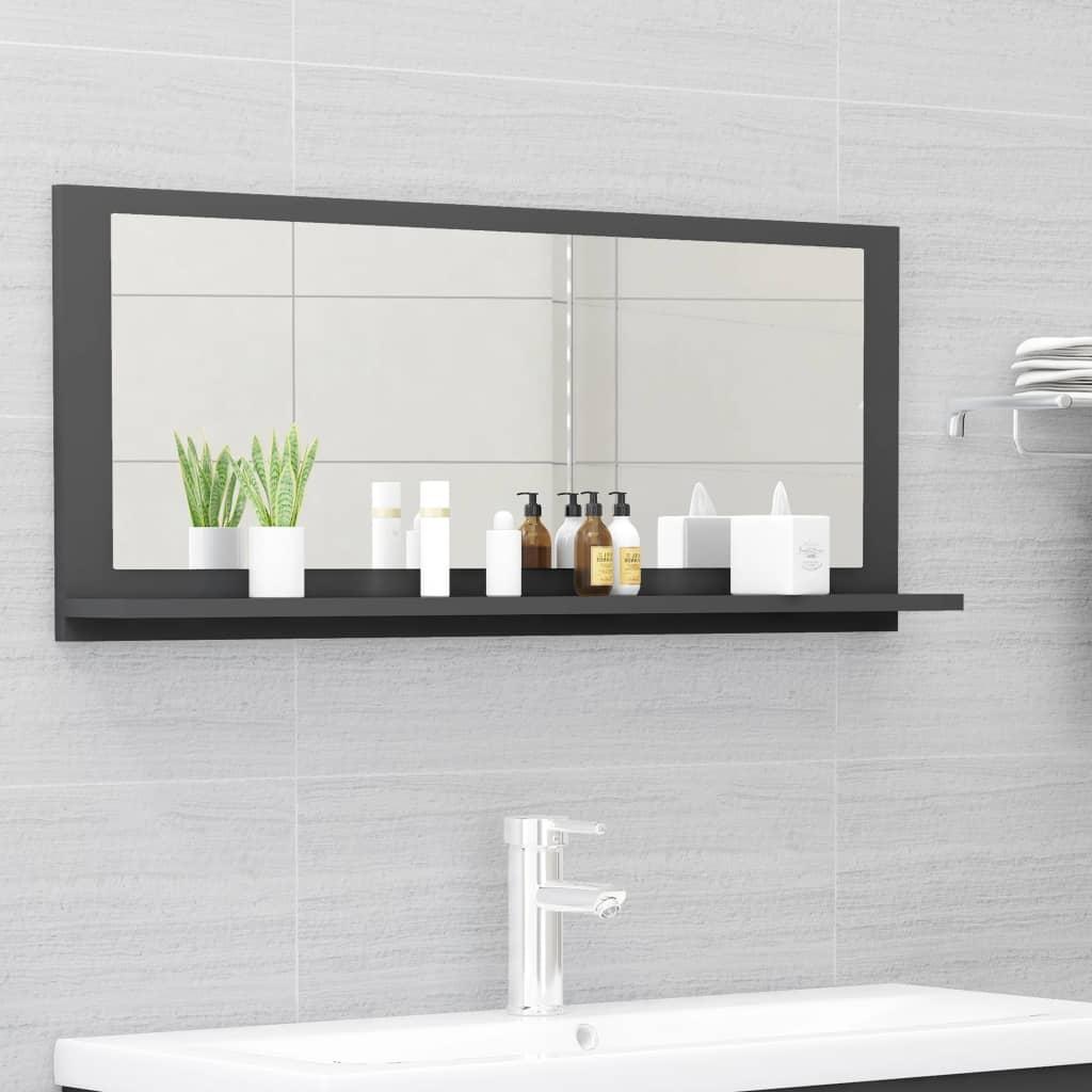 Koupelnové zrcadlo šedé 90 x 10,5 x 37 cm dřevotříska