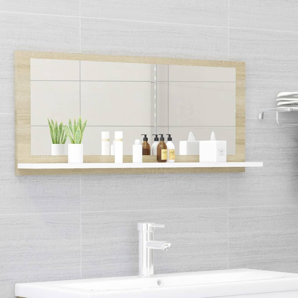 Koupelnové zrcadlo bílé dub sonoma 90x10,5x37 cm dřevotříska