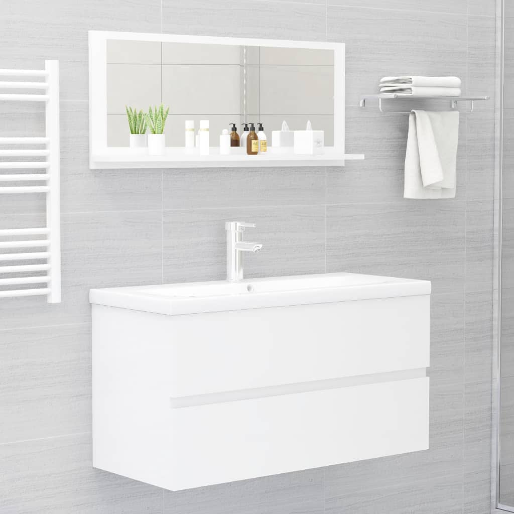 Vannitoa peeglikapp valge 90x10,5x37 cm puitlaastplaat