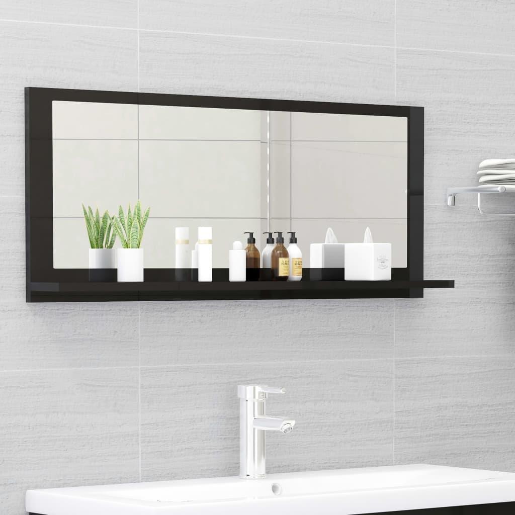 Koupelnové zrcadlo černé vysoký lesk 90x10,5x37 cm dřevotříska