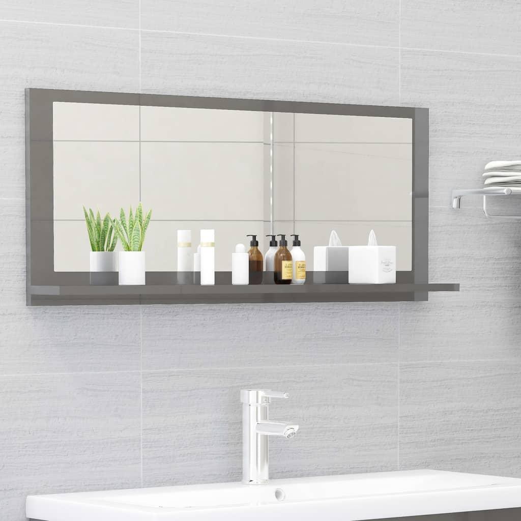 Koupelnové zrcadlo šedé vysoký lesk 90x10,5x37 cm dřevotříska