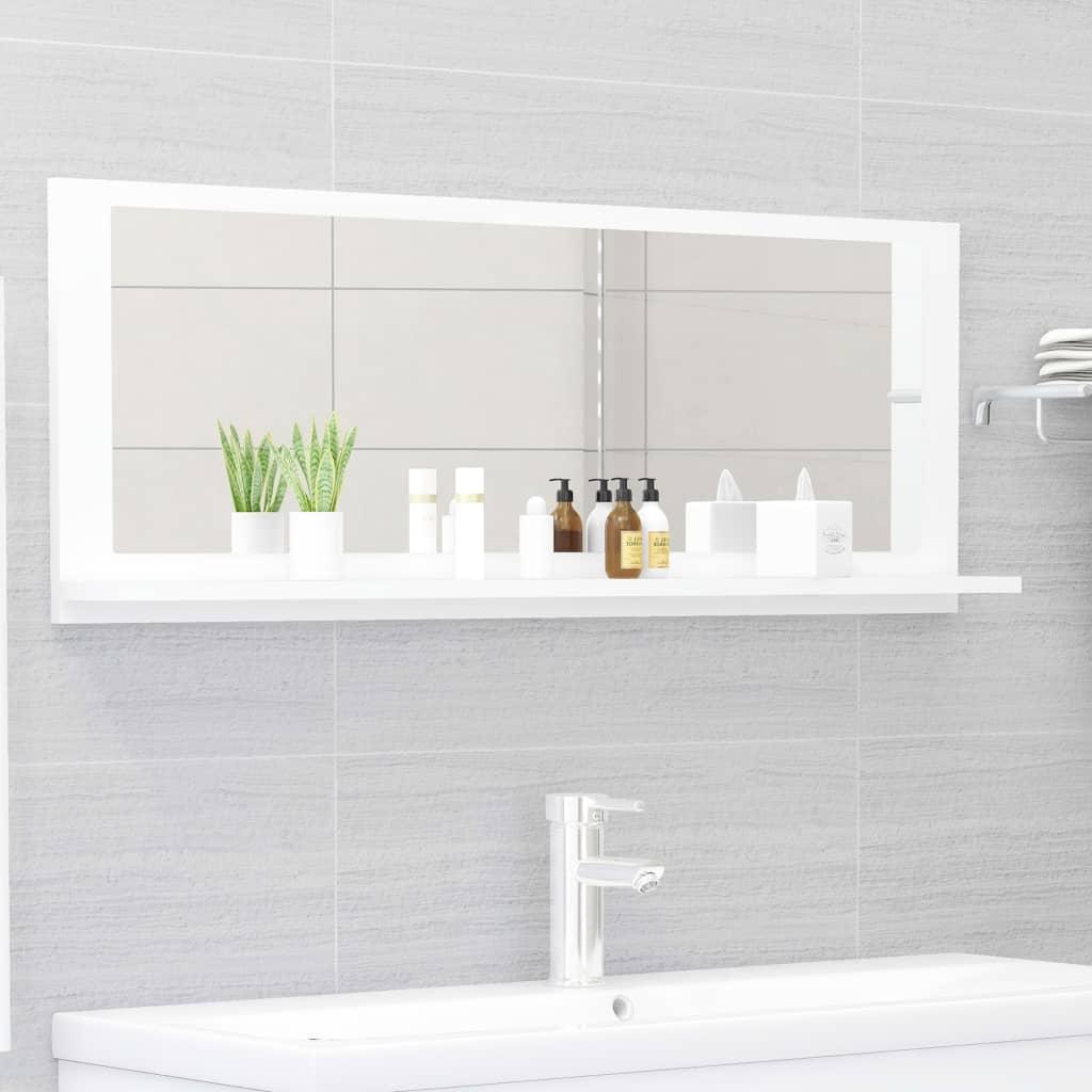 Koupelnové zrcadlo bílé 100 x 10,5 x 37 cm dřevotříska