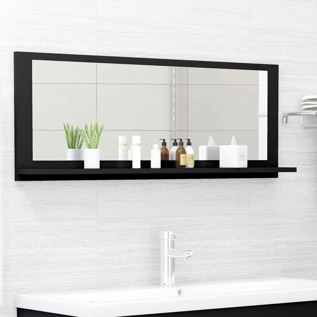 Koupelnové zrcadlo černé 100 x 10,5 x 37 cm dřevotříska