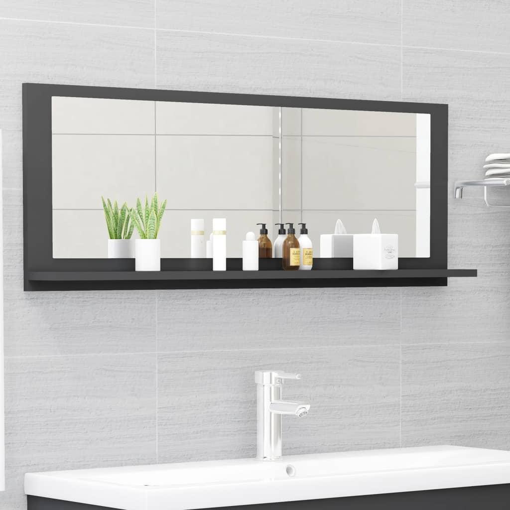 Koupelnové zrcadlo šedé 100 x 10,5 x 37 cm dřevotříska