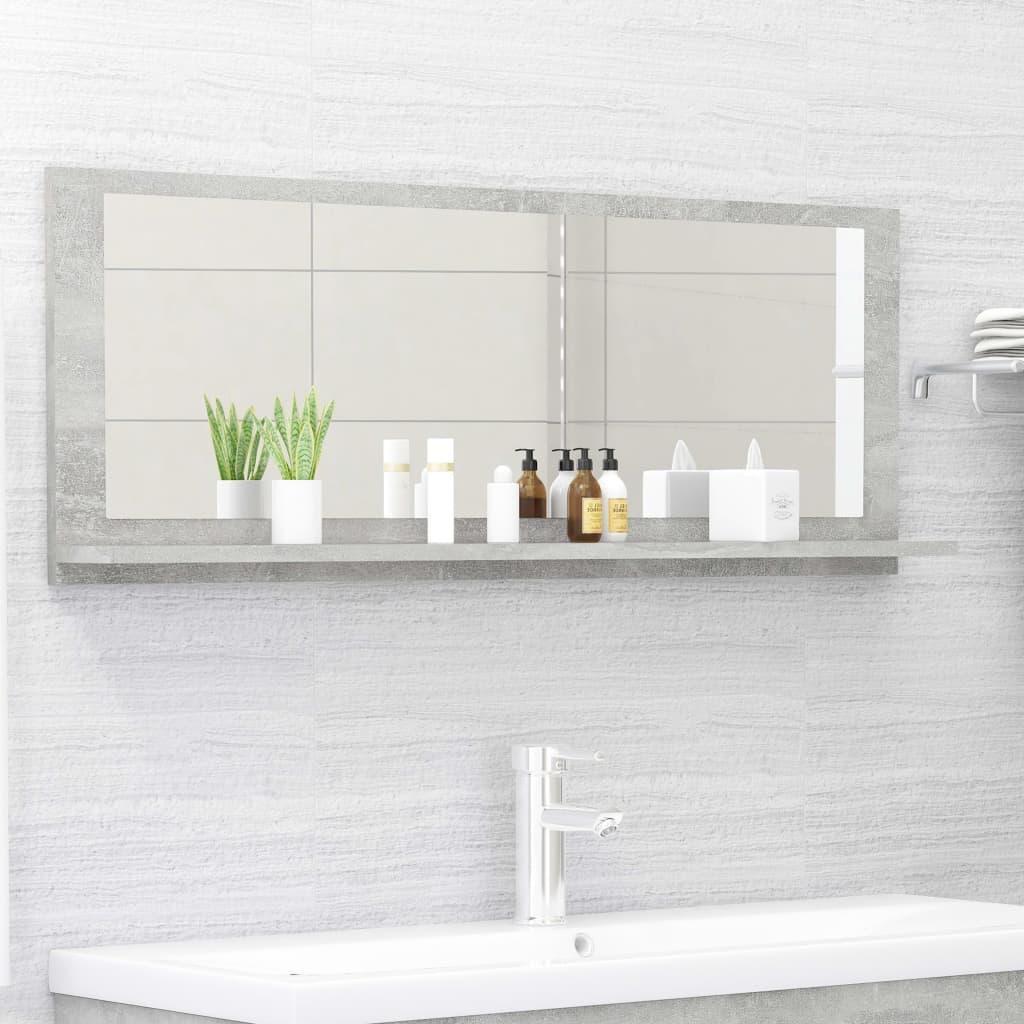 Koupelnové zrcadlo betonově šedé 100 x 10,5 x 37 cm dřevotříska