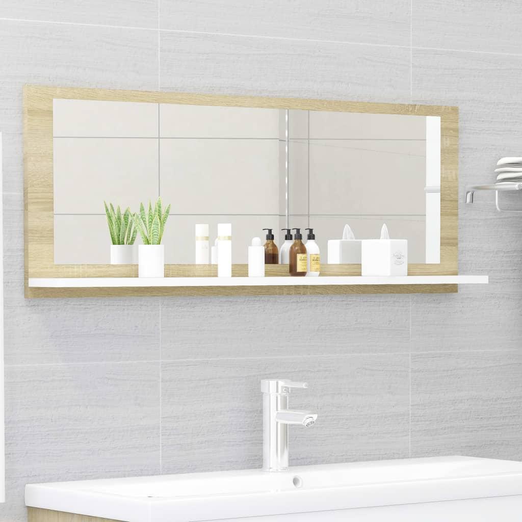 Koupelnové zrcadlo bílé dub sonoma 100x10,5x37 cm dřevotříska