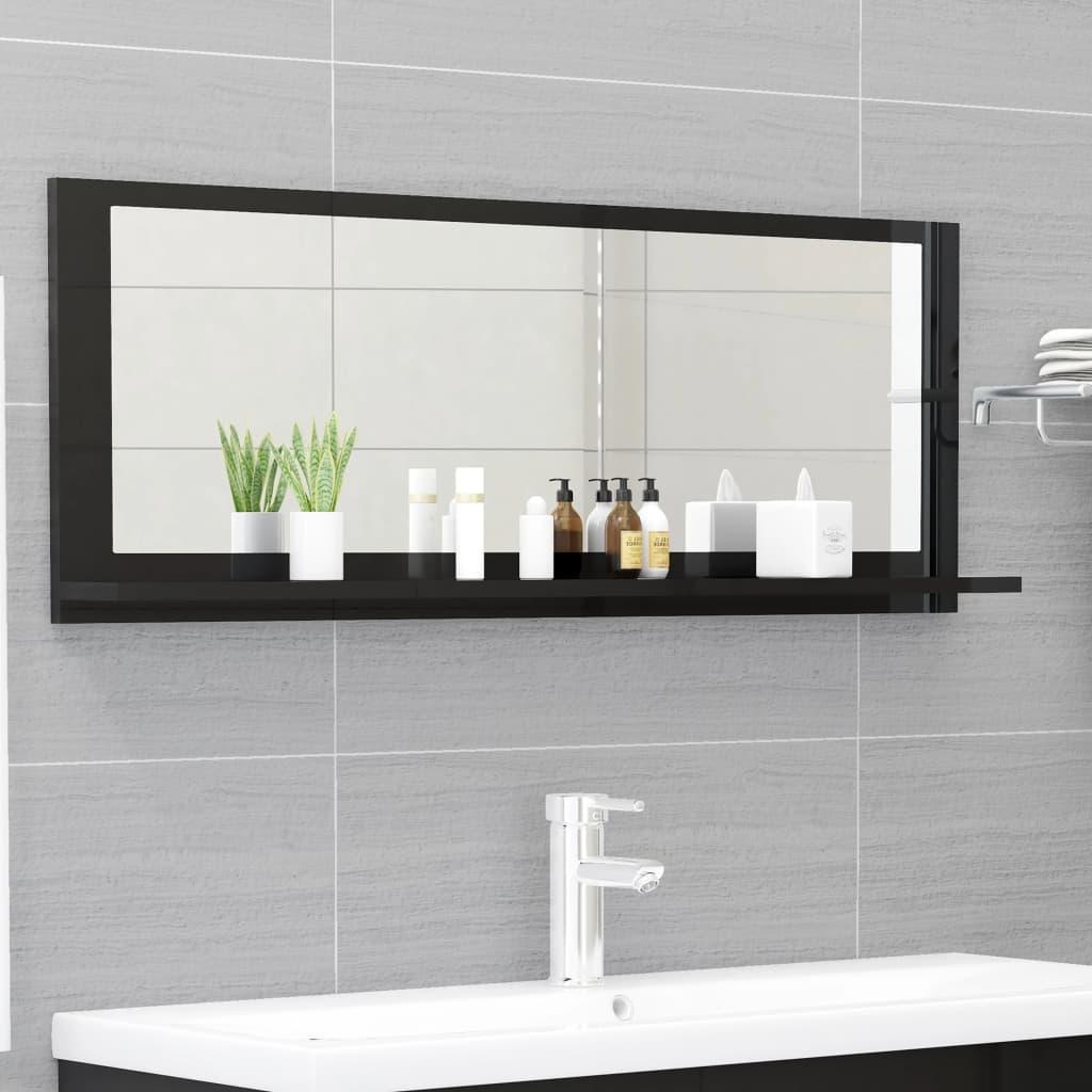 Koupelnové zrcadlo černé vysoký lesk 100x10,5x37 cm dřevotříska
