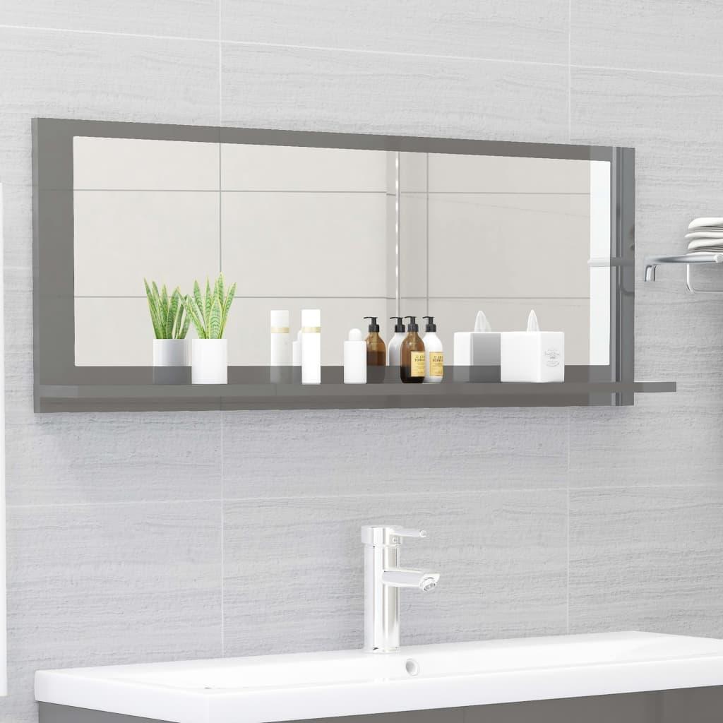 Koupelnové zrcadlo šedé vysoký lesk 100x10,5x37 cm dřevotříska