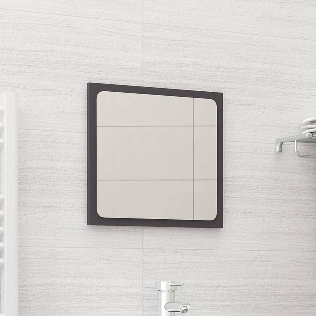Koupelnové zrcadlo šedé vysoký lesk 40x1,5x37 cm dřevotříska