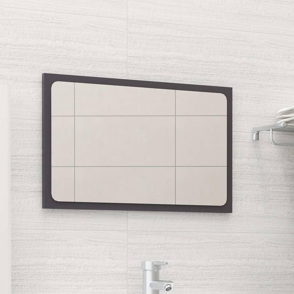 Koupelnové zrcadlo šedé vysoký lesk 60x1,5x37 cm dřevotříska