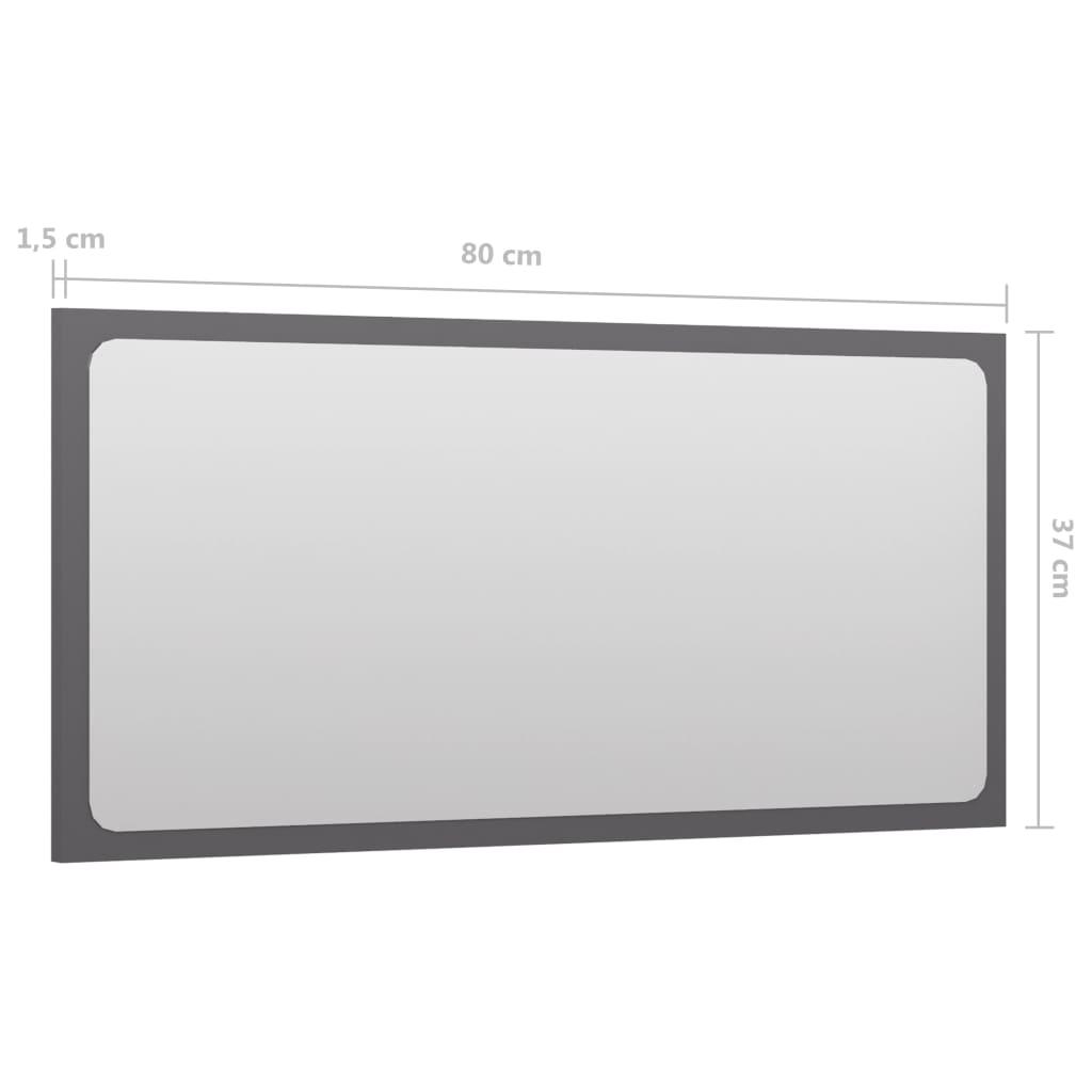 vidaXL Badkamerspiegel 80x1,5x37 cm spaanplaat hoogglans grijs