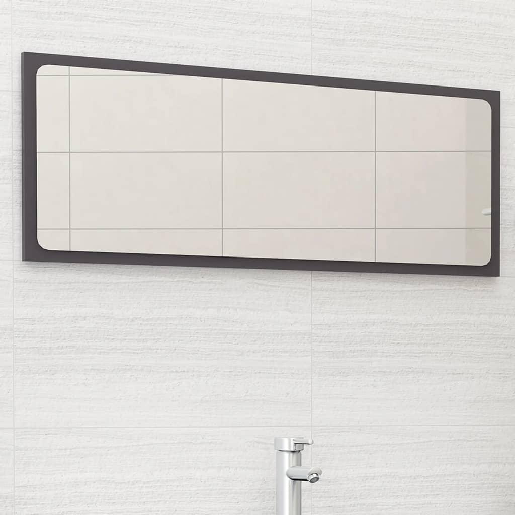 Koupelnové zrcadlo šedé vysoký lesk 100x1,5x37 cm dřevotříska