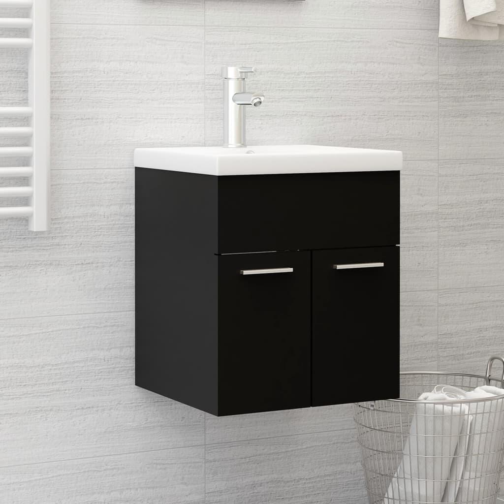 Skříňka pod umyvadlo černá 41 x 38,5 x 46 cm dřevotříska