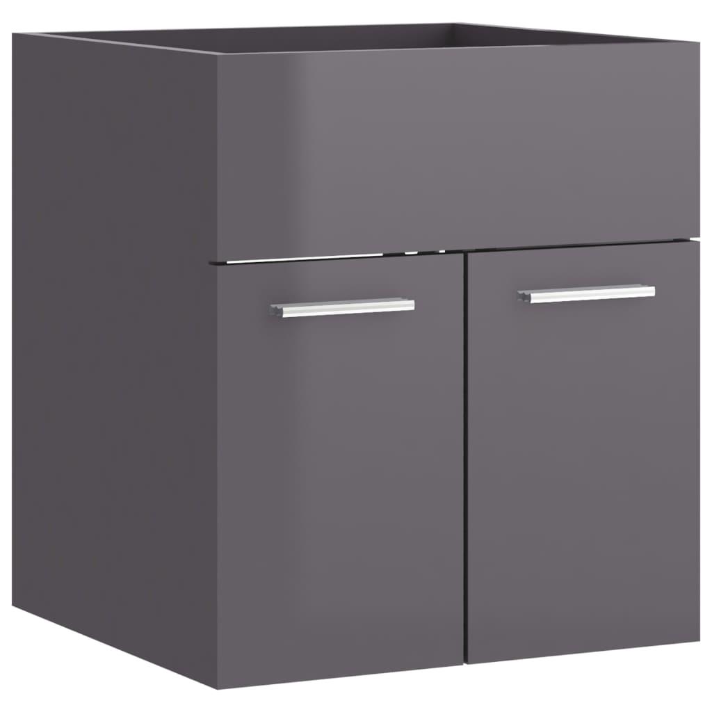 vidaXL Wastafelkast 41x38,5x46 cm spaanplaat hoogglans grijs