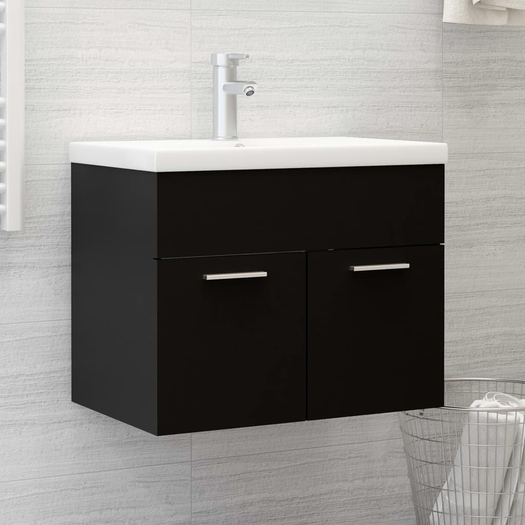 Skříňka pod umyvadlo černá 60 x 38,5 x 46 cm dřevotříska