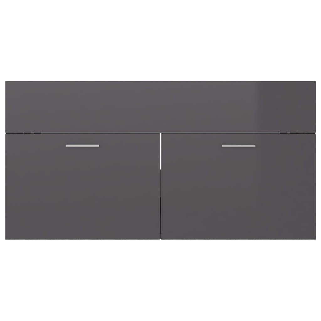 vidaXL Wastafelkast 90x38,5x46 cm spaanplaat hoogglans grijs