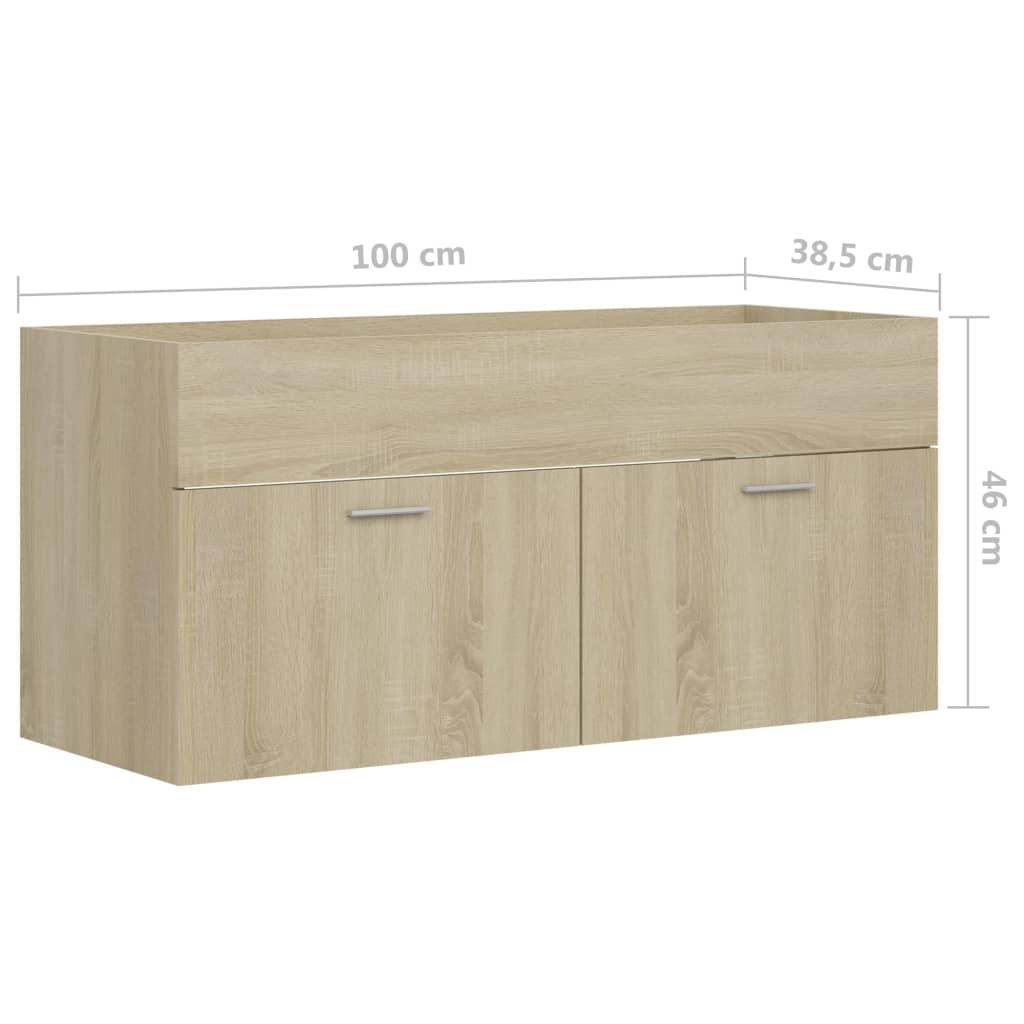 Wastafelkast 100x38,5x46 cm spaanplaat sonoma eikenkleurig