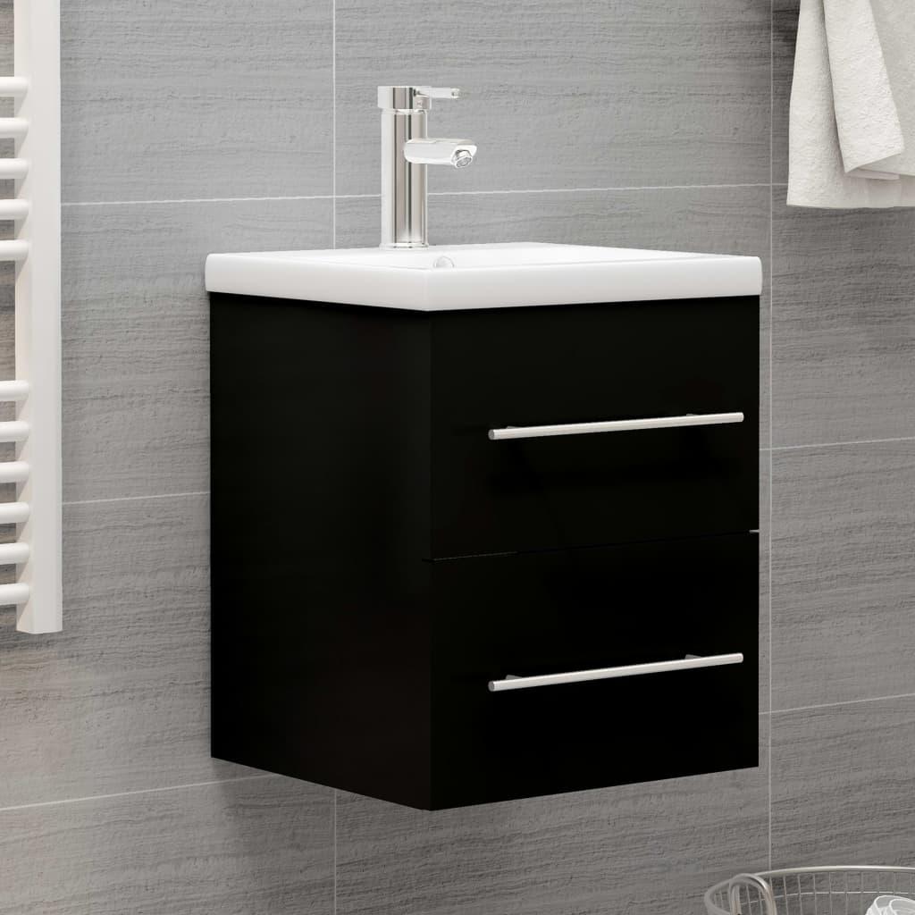 Skříňka pod umyvadlo černá 41 x 38,5 x 48 cm dřevotříska