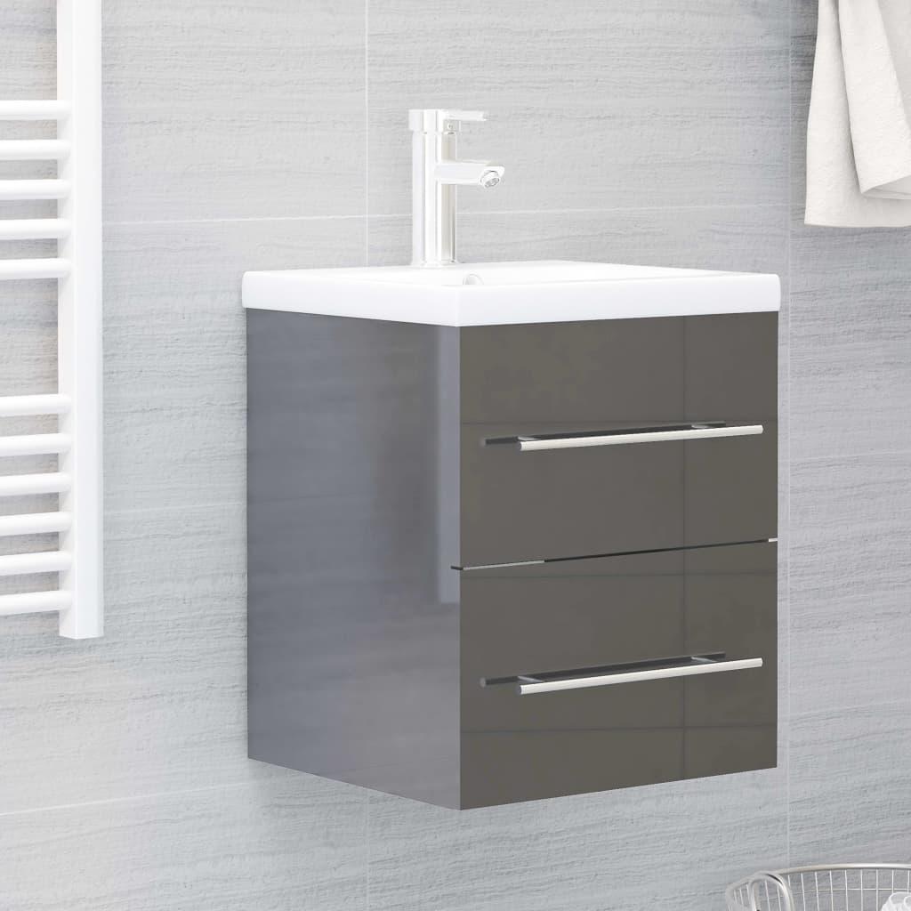 Skříňka pod umyvadlo šedá vysoký lesk 41x38,5x48 cm dřevotříska