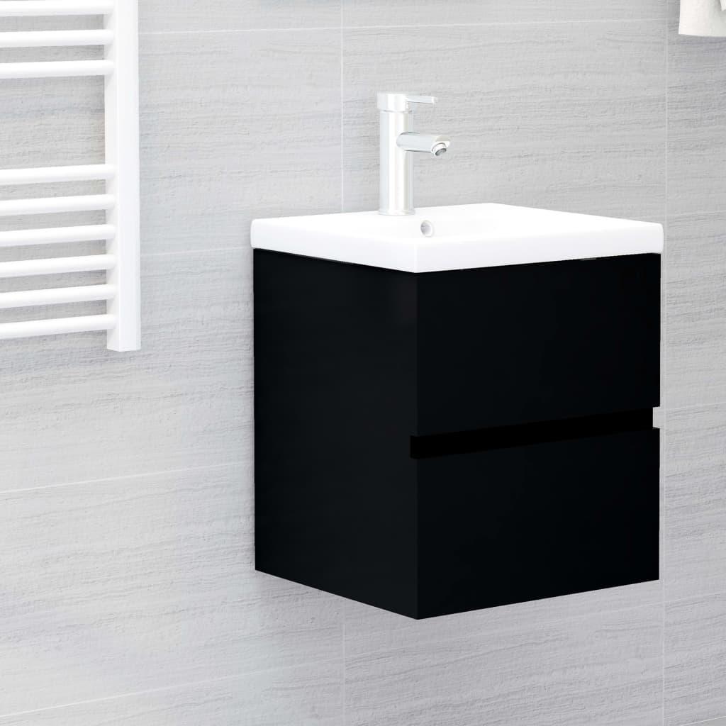 Skříňka pod umyvadlo černá 41 x 38,5 x 45 cm dřevotříska