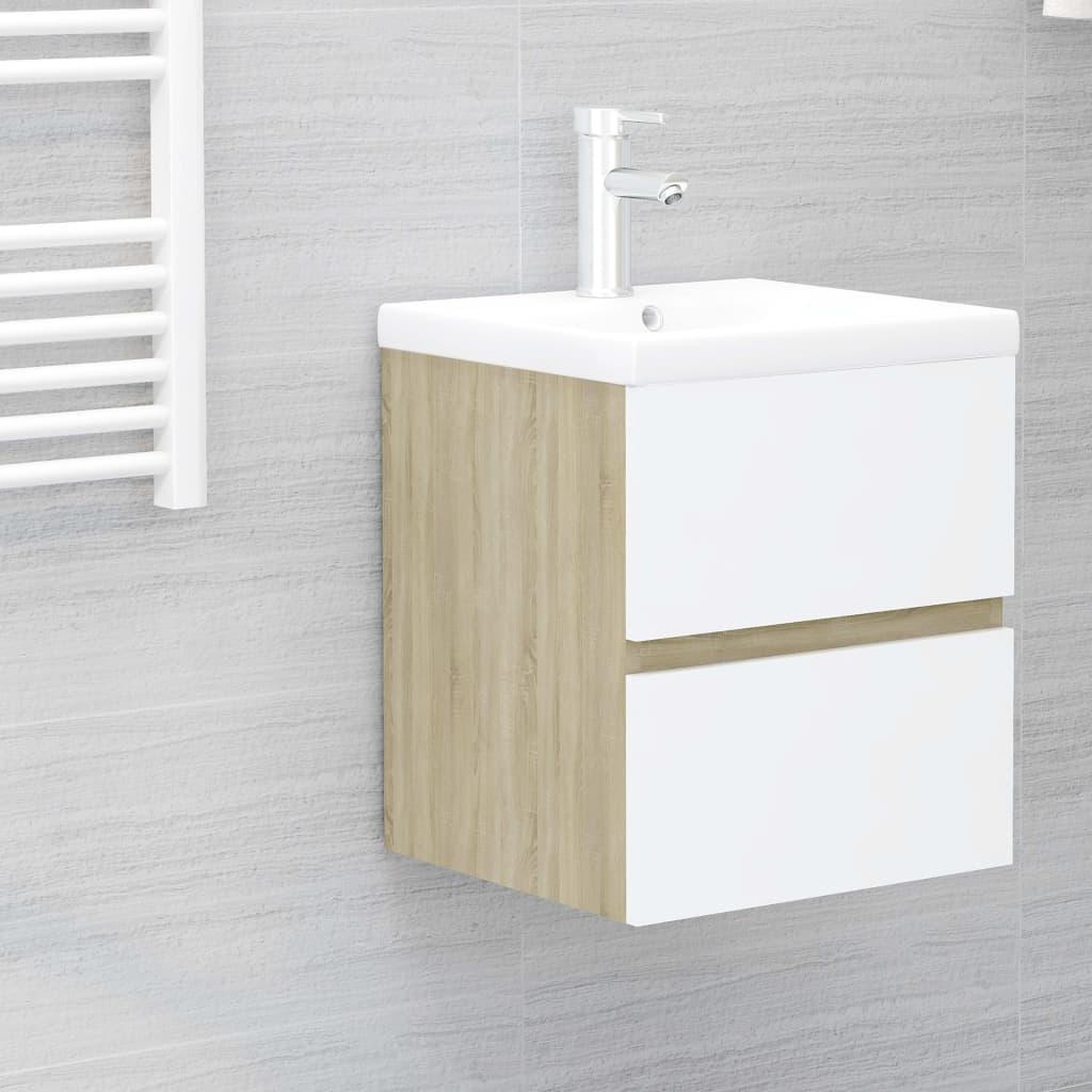 Skříňka pod umyvadlo bílá dub sonoma 41x38,5x45 cm dřevotříska