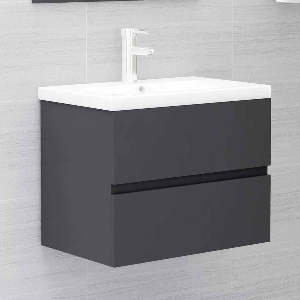 vidaXL Wastafelkast 60x38,5x45 cm spaanplaat grijs