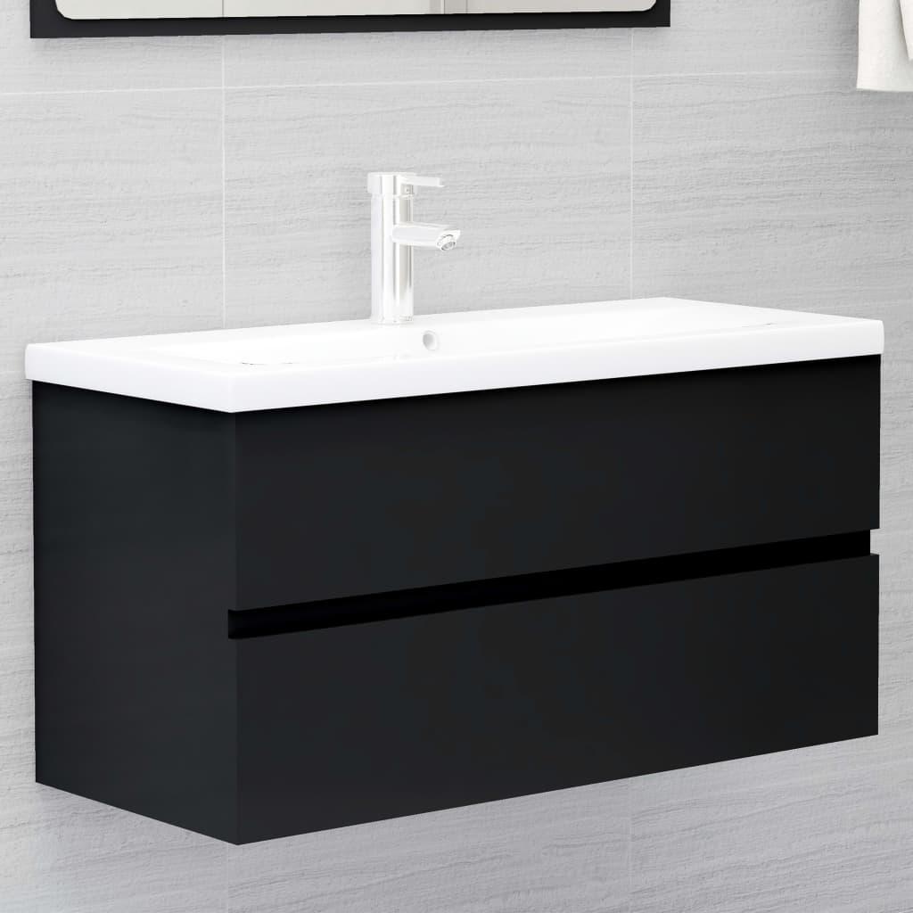 Skříňka pod umyvadlo černá 90 x 38,5 x 45 cm dřevotříska