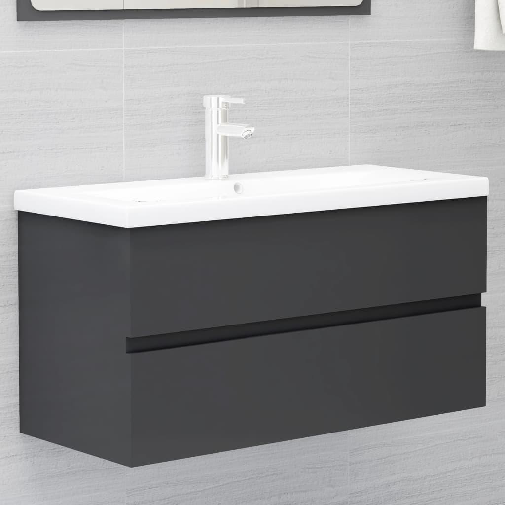 Skříňka pod umyvadlo šedá 90 x 38,5 x 45 cm dřevotříska