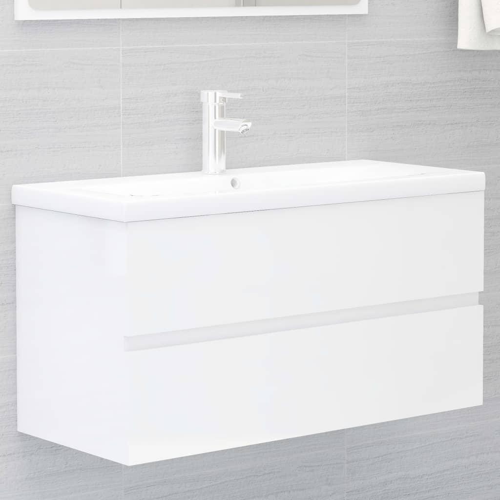 Skříňka pod umyvadlo bílá vysoký lesk 90x38,5x45 cm dřevotříska