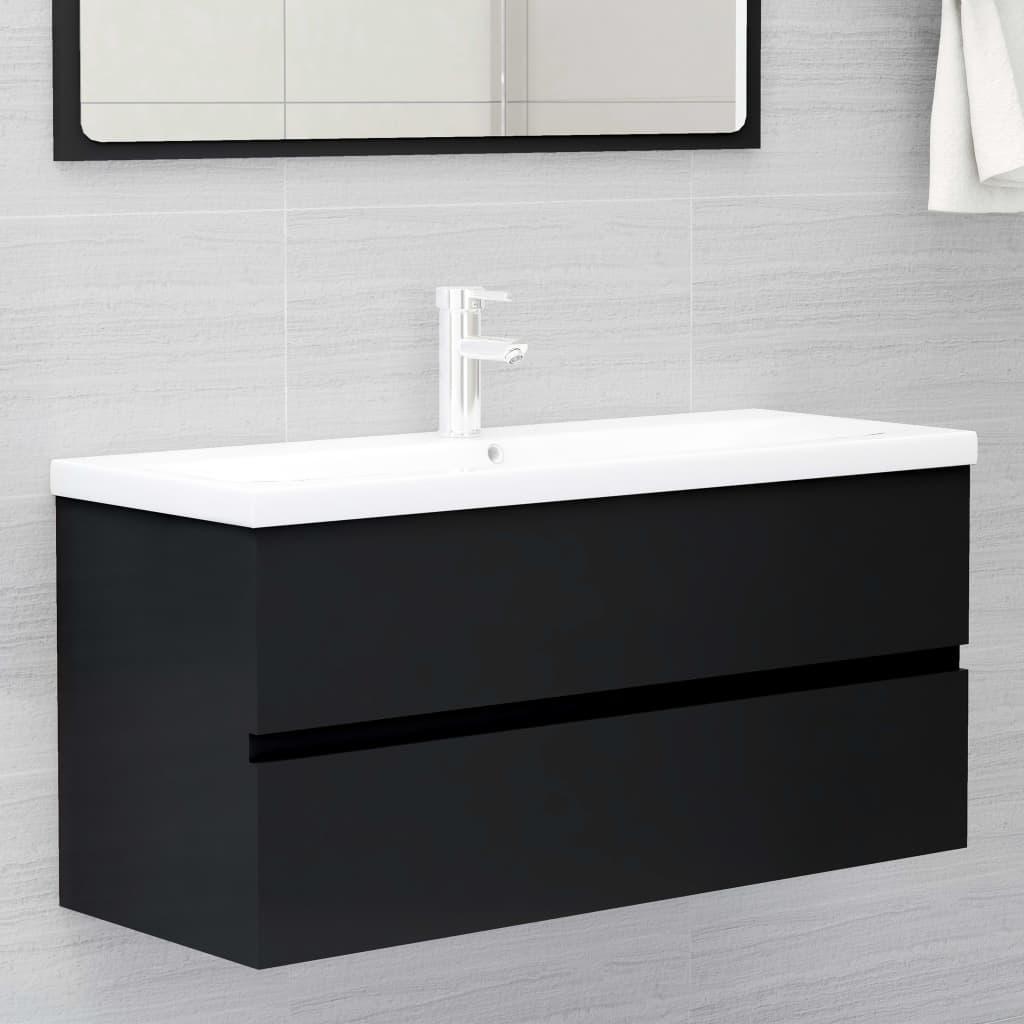 Skříňka pod umyvadlo černá 100 x 38,5 x 45 cm dřevotříska