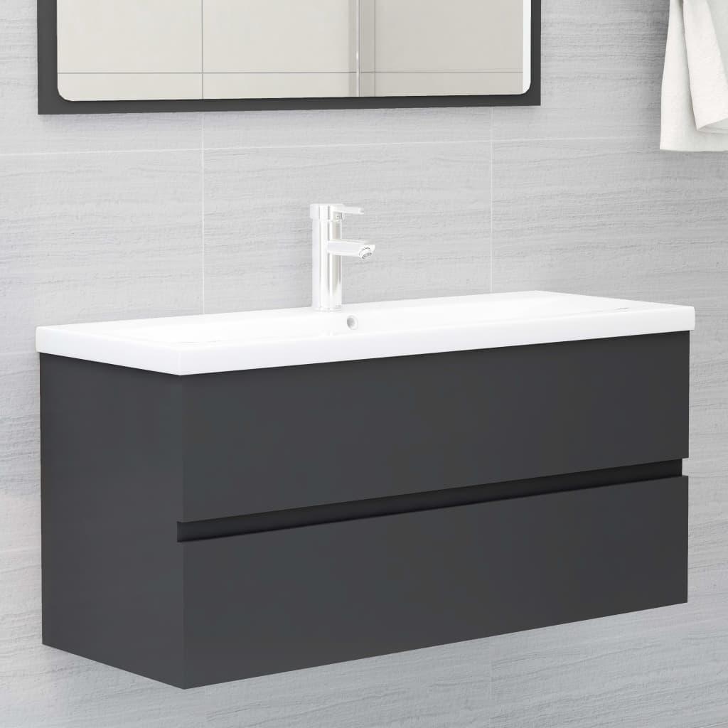 Skříňka pod umyvadlo šedá 100 x 38,5 x 45 cm dřevotříska