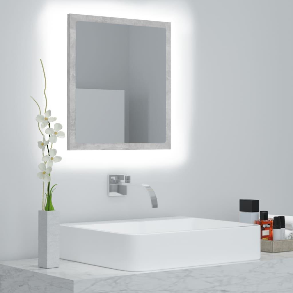 Koupelnové zrcadlo LED betonově šedé 40 x 8,5 x 37 cm dřevotříska