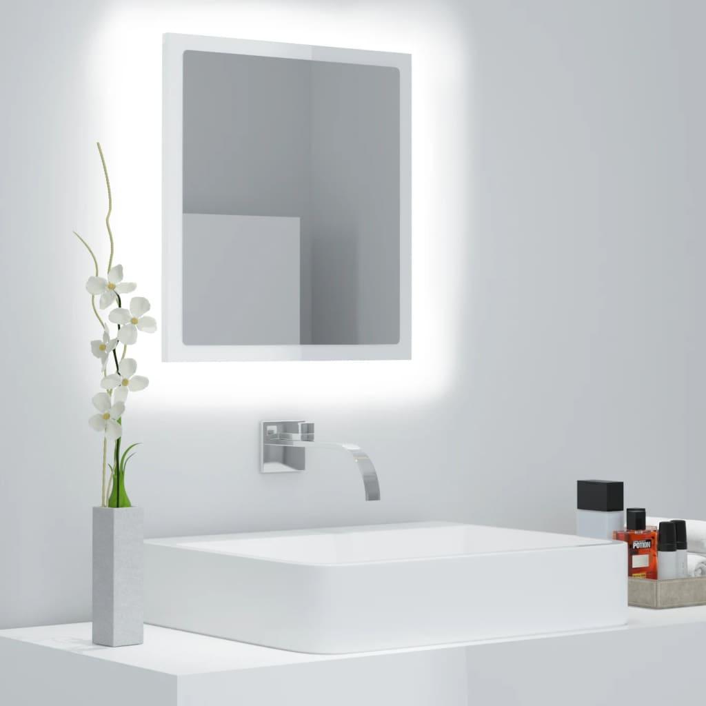 Koupelnové zrcadlo LED bílé s leskem 40x10,5x37 cm dřevotříska