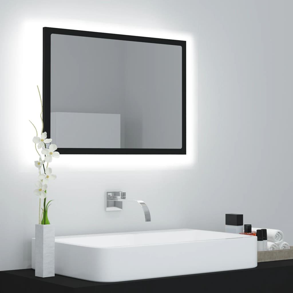LED kupaonsko ogledalo crno 60 x 8,5 x 37 cm od iverice
