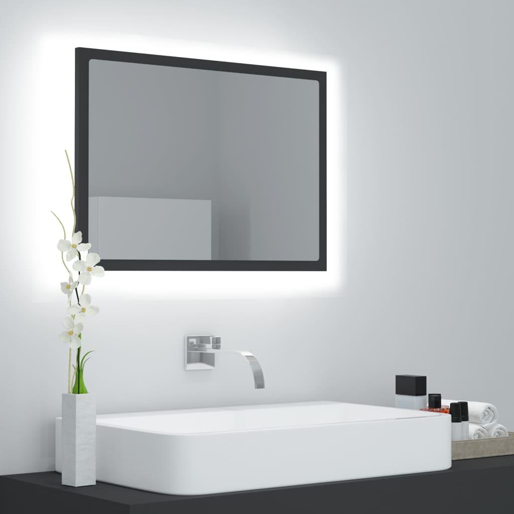 Koupelnové zrcadlo LED šedé 60 x 8,5 x 37 cm dřevotříska