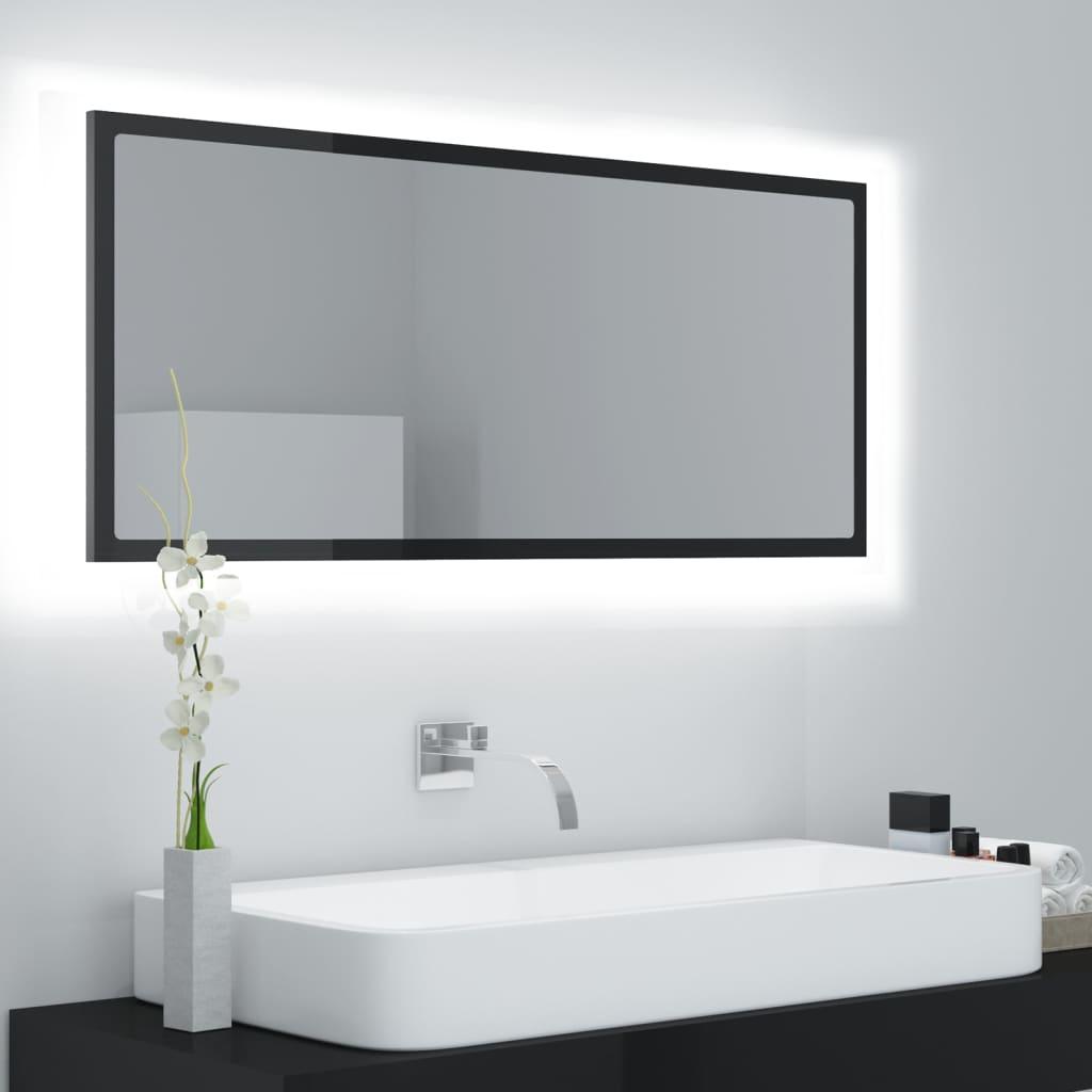 vidaXL LED-Badspiegel Hochglanz-Schwarz 100×8,5×37 cm Spanplatte