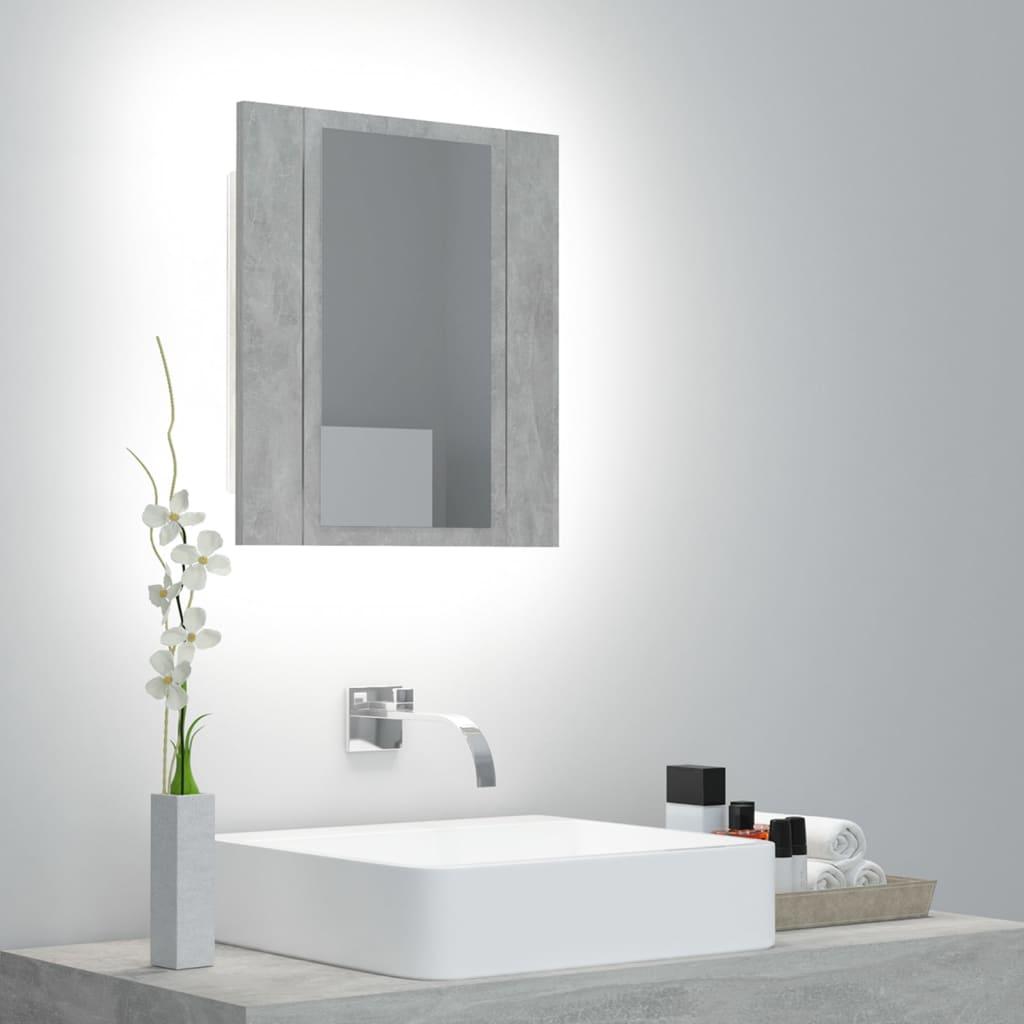 LED koupelnová skřínka se zrcadlem betonově šedá 40x12x45 cm