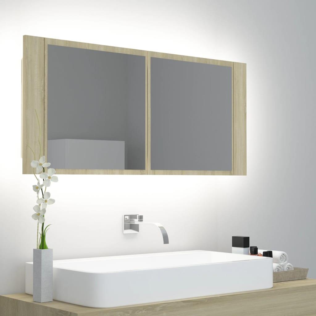 vidaXL LED-Bad-Spiegelschrank Sonoma-Eiche 100x12x45 cm